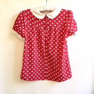 Monteau Tops - 🦋🦋🦋Minnie Mouse Red & White Polka Dot Blouse M